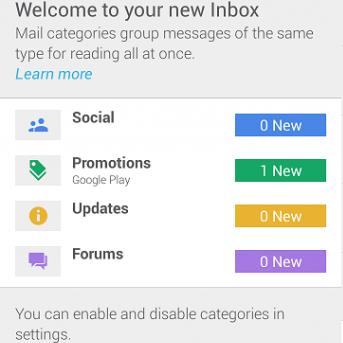 Google new inbox tabs