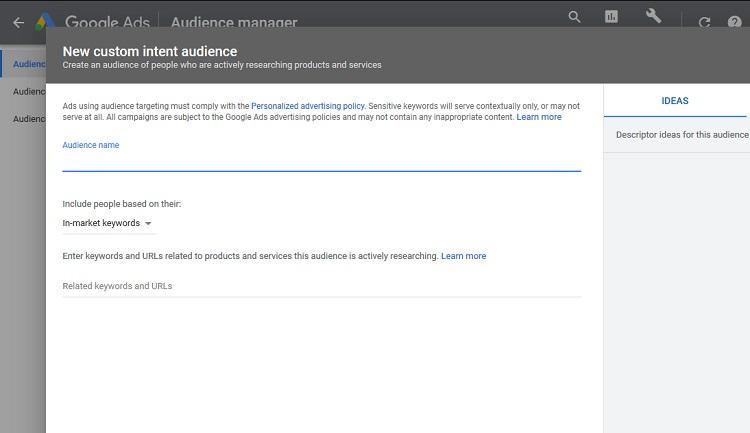 custom intent audience google